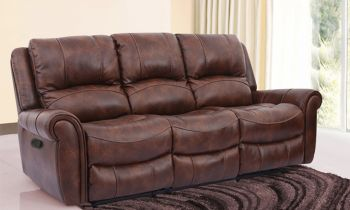 Furny Mario Three Seater Recliner Sofa in Leatherette  (Brown)