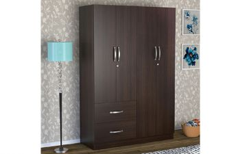 Furny Rios 4 Door Wardrobe with 2 Drawers in Wenge Finish