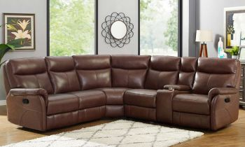 Furny Heron Six Seater Corner Recliner Sofa (Brown)
