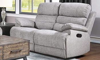 Furny Halston 2 Seater Recliner Sofa in Fabric (Light Grey)