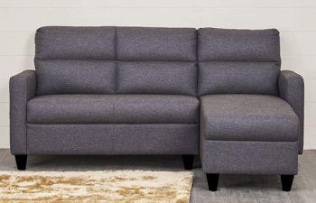 Furny Hellos 4 Seater Fabric  L Shape Sofa Set (Dark Grey)