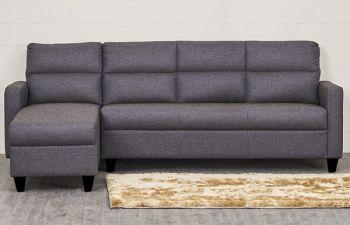 Furny Hellos 5 Seater Fabric L Shape Sofa Set (Dark Grey)