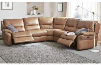 Furny Casafurnish Hensley Six Seater Corner Leatherette Recliner Sofa (Camel)