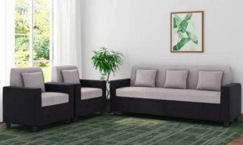 Furny Herostyle Five Seater Fabric 3+1+1 Sofa Set (Grey-Black)