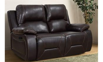 Furny Heuvika Two Seater Recliner Sofa in Leatherette (Dark Brown)