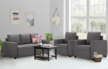 Furny Jorstan 5 Seater 3+1+1 Fabric Sofa Set (Dark Grey)