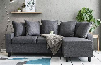 Furny Kairan 4 Seater Interchangeable L Shape Sofa set For Living Room(Dark Grey)