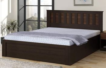 Furny Krisaan Engineered Wood Bed with Box Storage (Brown)