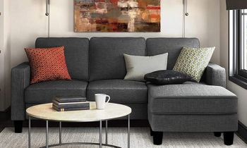 Furny Loretta Four Seater RHS L Shape Sofa Set (Grey)