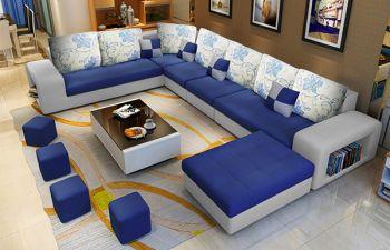 Furny Lunaro 12 Seater Fabric U Shape Sofa Set with 4 Small Poufs (Blue-Grey)