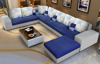 Furny Lunaro 8 Seater Fabric U Shape Sofa Set (Blue-Grey)