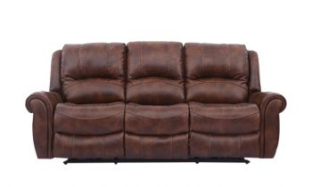 Furny Mario Three seater Recliner Sofa in Leatherettte (Brown)