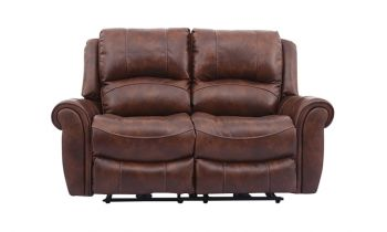 Furny Mario Two seater Recliner Sofa in Leatherette (Brown)