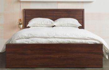 Furny Melana Engineered Wood Bed with Box Storage (Brown)