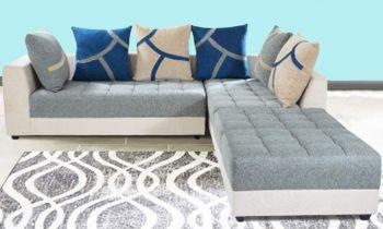 Furny Multistyle 7 Seater L Shape Sofa RHS (3 Seater + 2 Seater + 2 Puffay) Combo (Grey-Cream)