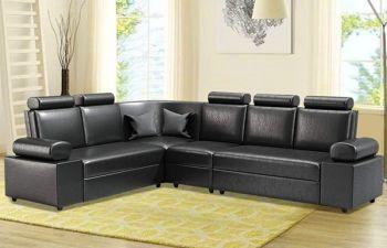 Furny Pineston Leatherette 6 Seater Corner L Shape Sofa with Adjustable Headrest (Black)