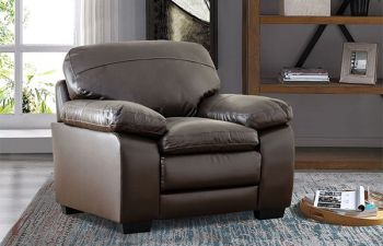 Furny Napster 1 Seater Sofa For Living Room in Leatherette (Brown)