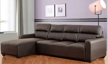 Furny Niceson Five Seater LHS L Shape Sofa Set in Leatherette (Brown)