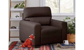 Furny Niceson One Seater Sofa in Leatherette (Brown)