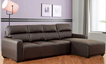 Furny Niceson Five Seater RHS L Shape Sofa Set in Leatherette (Brown)