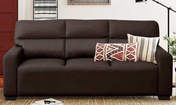 Furny Niceson Three Seater Sofa Set in Leatherette (Brown)