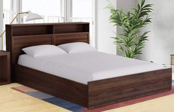 Furny Noansa Engineered Wood Bed With Box Storage (Brown)