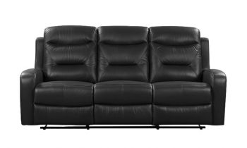 Furny Olive Three seater Recliner Sofa in Leatherette (Black)