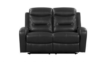 Furny Olive Two seater Recliner Sofa in Leatherette  (Black)