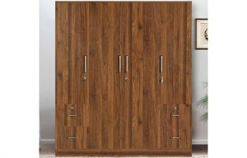Furny Paris Engineered Wood 4 Door Wardrobe with Side Drawers