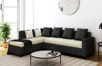 Furny Premion 5 Seater Fabric L Shape Sofa Set (Cream-Dark Grey)