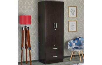 Furny Rengar 2 Door Wardrobe with Drawers in Wenge Finish