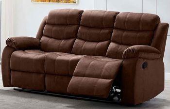 Furny Rochas 3 Seater Fabric Recliner Sofa Set (Brown)