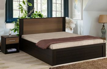 Furny Rohena Engineered Wood Bed with Hydraulic Storage (Brown)