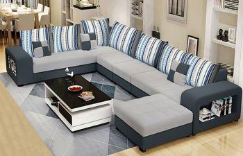 Furny 8 Seater Ronchester Corner L Shape Sofa Set (Light-Dark Grey)