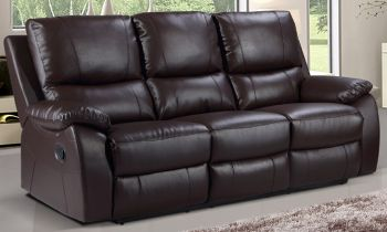 Furny Sweden Three seater Recliner Sofa in Leatherette (Brown)
