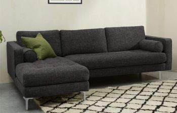 Furny 4 Seater Scotland Fabric L Shape Sofa Set - Dark Grey