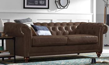 Furny Smaston Three Seater Chesterfield Sofa Set in Leatherette (Dark Brown)