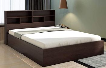 Furny Soliss Engineered Wood Bed with Box Storage (Brown)