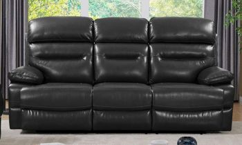 Furny Stylona Three Seater Recliner Sofa in Leatherette (Black)