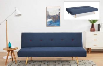 Furny Tangler 3 Seater Fabric Sofa Cum Bed (Blue)