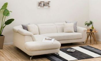 Furny Tassos Four Seater L shape LHS Sofa with Adjustable Headrest (Cream)