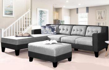 Furny Travo 6 Seater Fabric L Shape Sofa Set (Light Grey-Dark Grey)