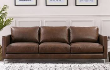 Furny Woodslay 3 Seater Sofa Set For Living Room (Brown)